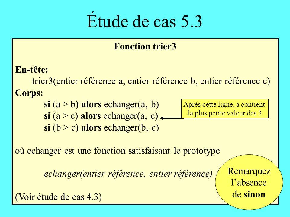 Étude de cas 5.3 Fonction trier3 En-tête: trier3(entier référence a, entier référence b, entier référence c) Corps: si (a > b) alors echanger(a, b) si (a > c) alors echanger(a, c) si (b > c) alors echanger(b, c) où echanger est une fonction satisfaisant le prototype echanger(entier référence, entier référence) (Voir étude de cas 4.3) Après cette ligne, a contient la plus petite valeur des 3 Remarquez labsence de sinon