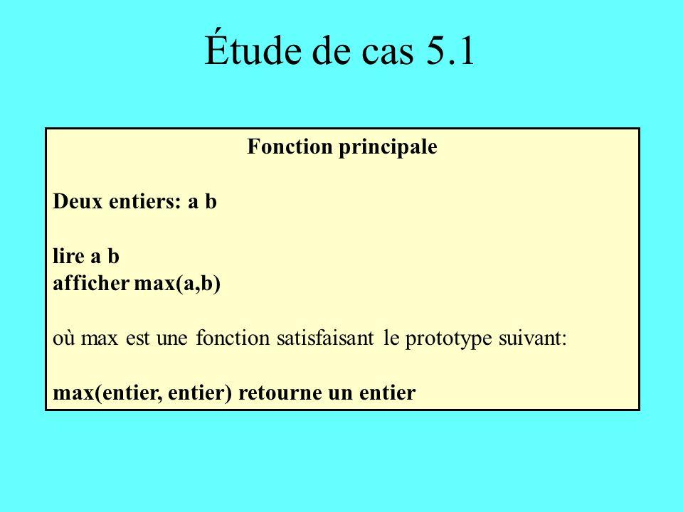 Étude de cas 5.1 Fonction principale Deux entiers: a b lire a b afficher max(a,b) où max est une fonction satisfaisant le prototype suivant: max(entier, entier) retourne un entier