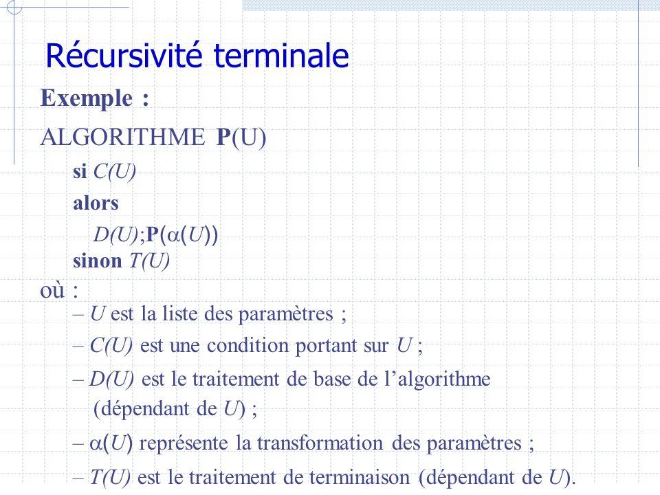 Récursivité terminale Avec ces notations, lalgorithme P équivaut à lalgorithme suivant : ALGORITHME P(U) tant que C(U) faire D(U);U ( U ) T(U) Lalgorithme P est une version dérécursivée de lalgorithme P.