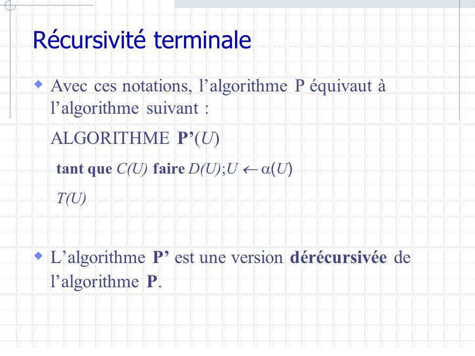Procedure ParcoursInfixe(a :Arbre) debut Tantque (a<>nil) faire ParcoursInfixe(a^.fg) Ecrire(a^.info) a a^.fd fintantque fin ALGORITHME Q(U) si C ( U ) alors D ( U ) ;Q ( ( U )) ;F ( U ) sinon T ( U ) U = a, C(U) = a<>nil, D(U) = vide, a(U)=a^.fg, F(U) ={ecrire(a^.info), a=a^.fd}, T(U) =vide