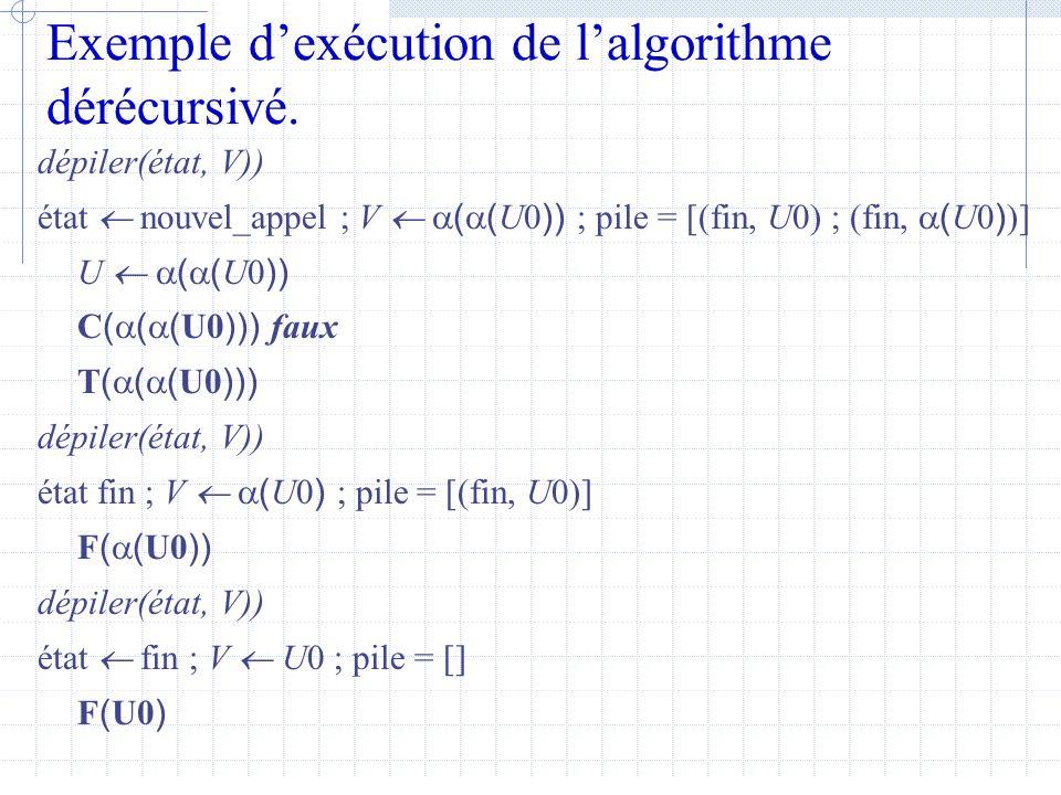 Dérécursivation Remarques Les programmes itératifs sont souvent plus efficaces, mais les programmes récursifs sont plus faciles à écrire.