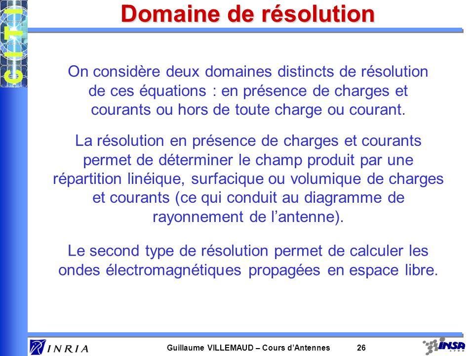 Guillaume VILLEMAUD – Cours dAntennes 26 Domaine de résolution On considère deux domaines distincts de résolution de ces équations : en présence de ch