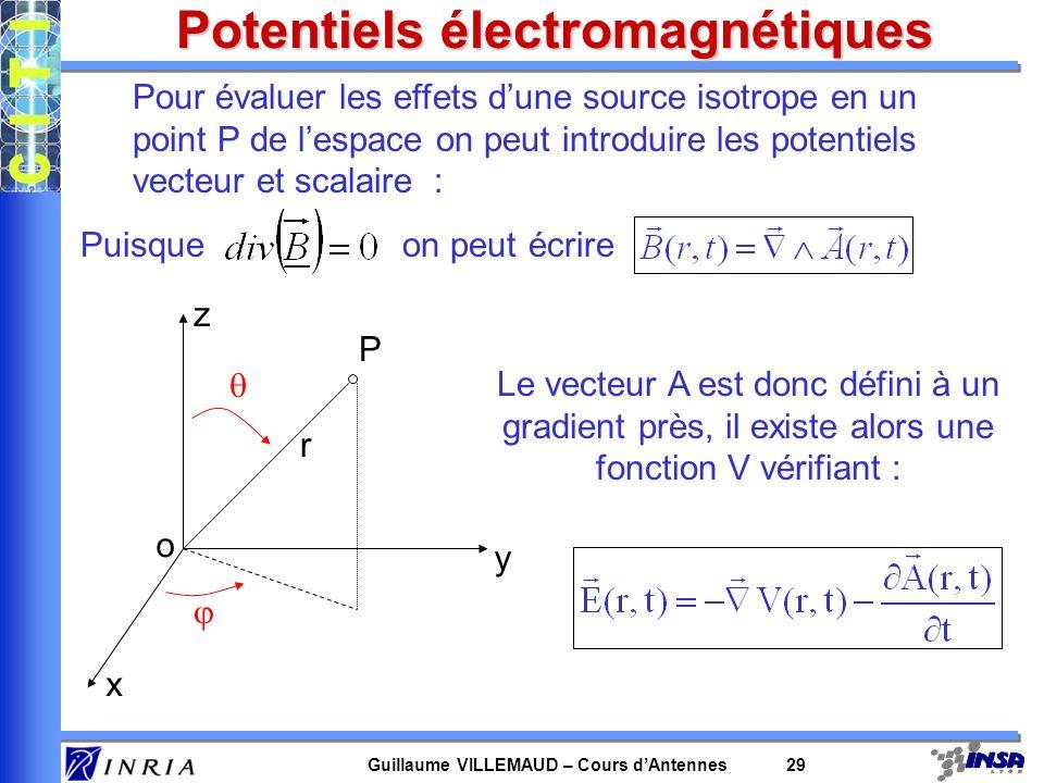Guillaume VILLEMAUD – Cours dAntennes 29 Potentiels électromagnétiques Pour évaluer les effets dune source isotrope en un point P de lespace on peut i