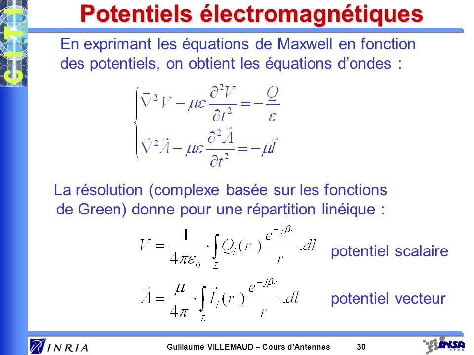 Guillaume VILLEMAUD – Cours dAntennes 30 Potentiels électromagnétiques En exprimant les équations de Maxwell en fonction des potentiels, on obtient le