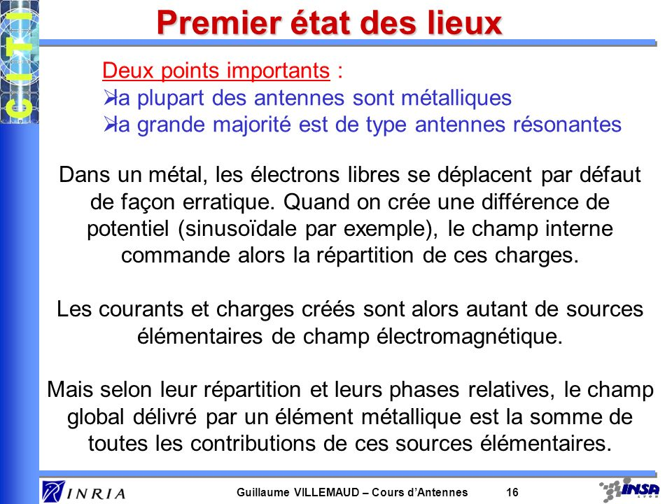 Guillaume VILLEMAUD – Cours dAntennes 16 Premier état des lieux Deux points importants : la plupart des antennes sont métalliques la grande majorité e