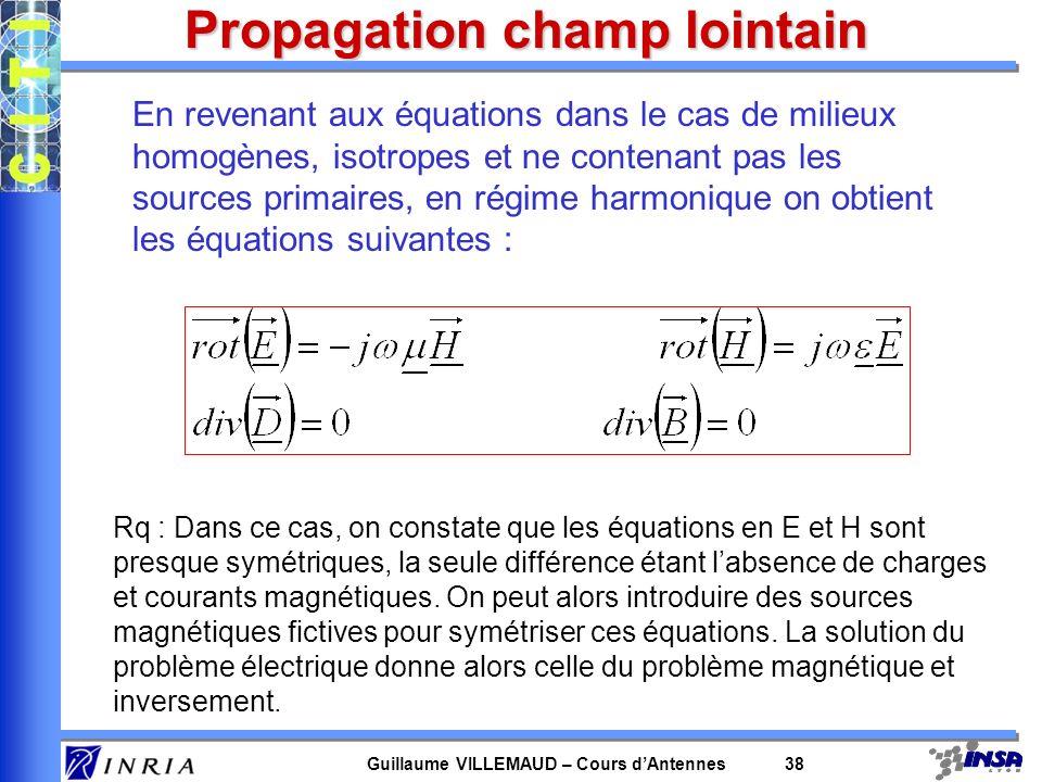 Guillaume VILLEMAUD – Cours dAntennes 38 Propagation champ lointain En revenant aux équations dans le cas de milieux homogènes, isotropes et ne conten