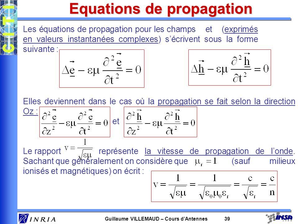 Guillaume VILLEMAUD – Cours dAntennes 39 Equations de propagation Les équations de propagation pour les champs et (exprimés en valeurs instantanées co