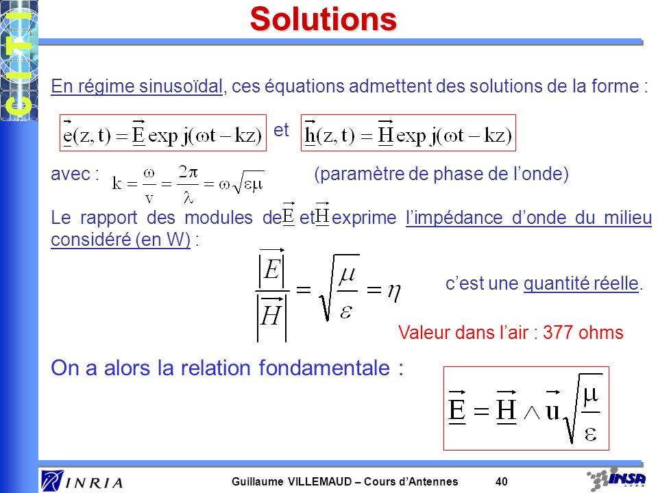 Guillaume VILLEMAUD – Cours dAntennes 40 Solutions En régime sinusoïdal, ces équations admettent des solutions de la forme : et avec : (paramètre de p