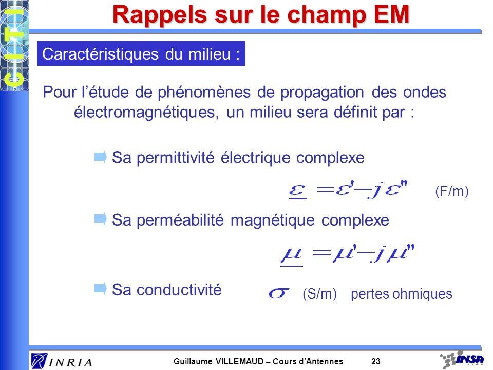 Guillaume VILLEMAUD – Cours dAntennes 23 Rappels sur le champ EM Pour létude de phénomènes de propagation des ondes électromagnétiques, un milieu sera