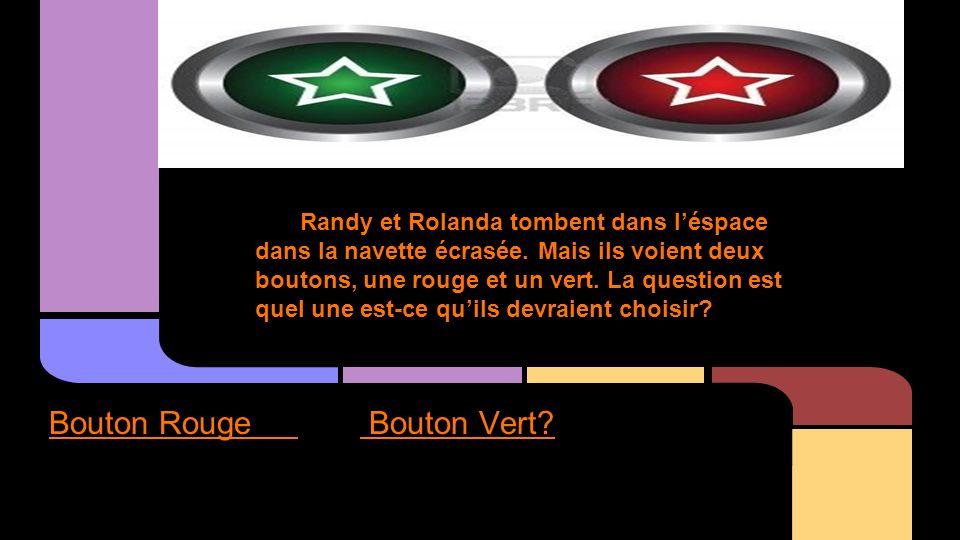 Randy et Rolanda tombent dans léspace dans la navette écrasée. Mais ils voient deux boutons, une rouge et un vert. La question est quel une est-ce qui