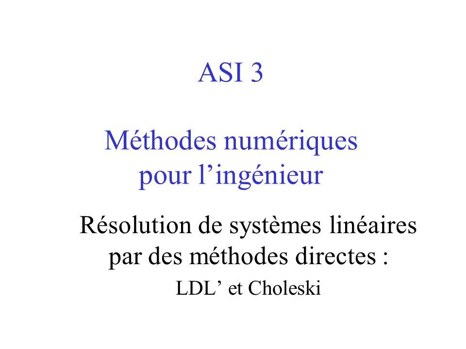 ASI 3 Méthodes numériques pour lingénieur Résolution de systèmes linéaires par des méthodes directes : LDL et Choleski