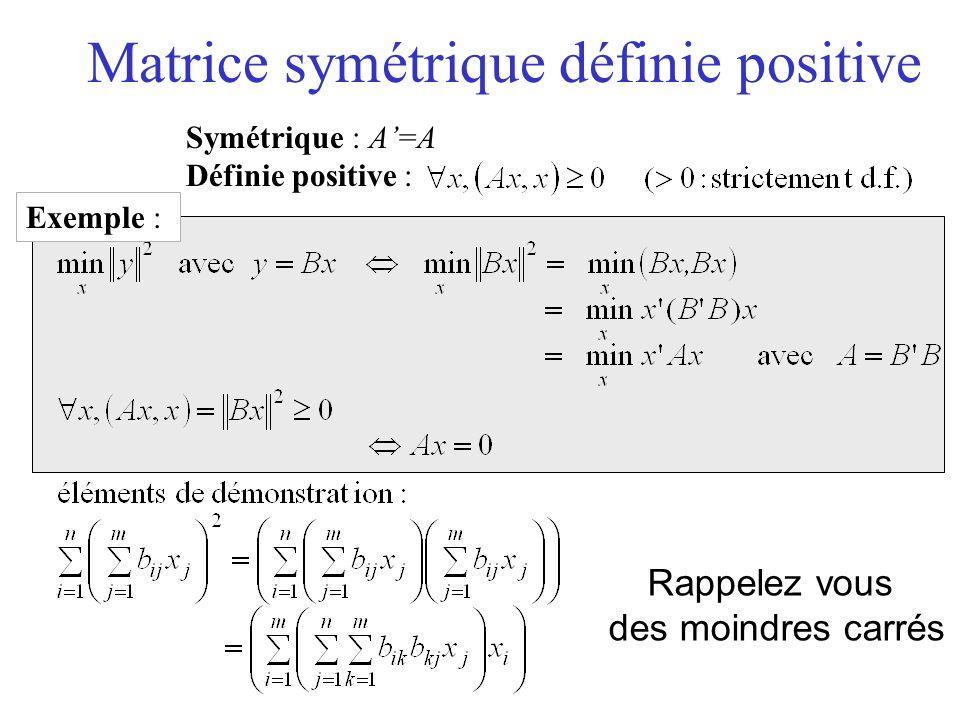 Matrice symétrique définie positive Symétrique : A=A Définie positive : Exemple : Rappelez vous des moindres carrés