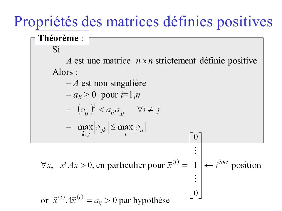 Propriétés des matrices définies positives Théorème : Si A est une matrice n x n strictement définie positive Alors : – A est non singulière – a ii > 0 pour i=1,n