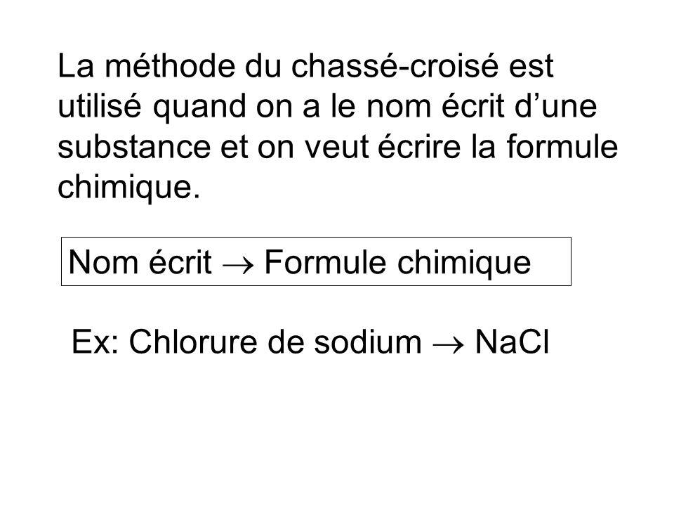 La méthode du chassé-croisé est utilisé quand on a le nom écrit dune substance et on veut écrire la formule chimique. Ex: Chlorure de sodium NaCl Nom