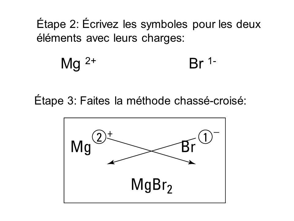 Étape 2: Écrivez les symboles pour les deux éléments avec leurs charges: Mg 2+ Br 1- Étape 3: Faites la méthode chassé-croisé: