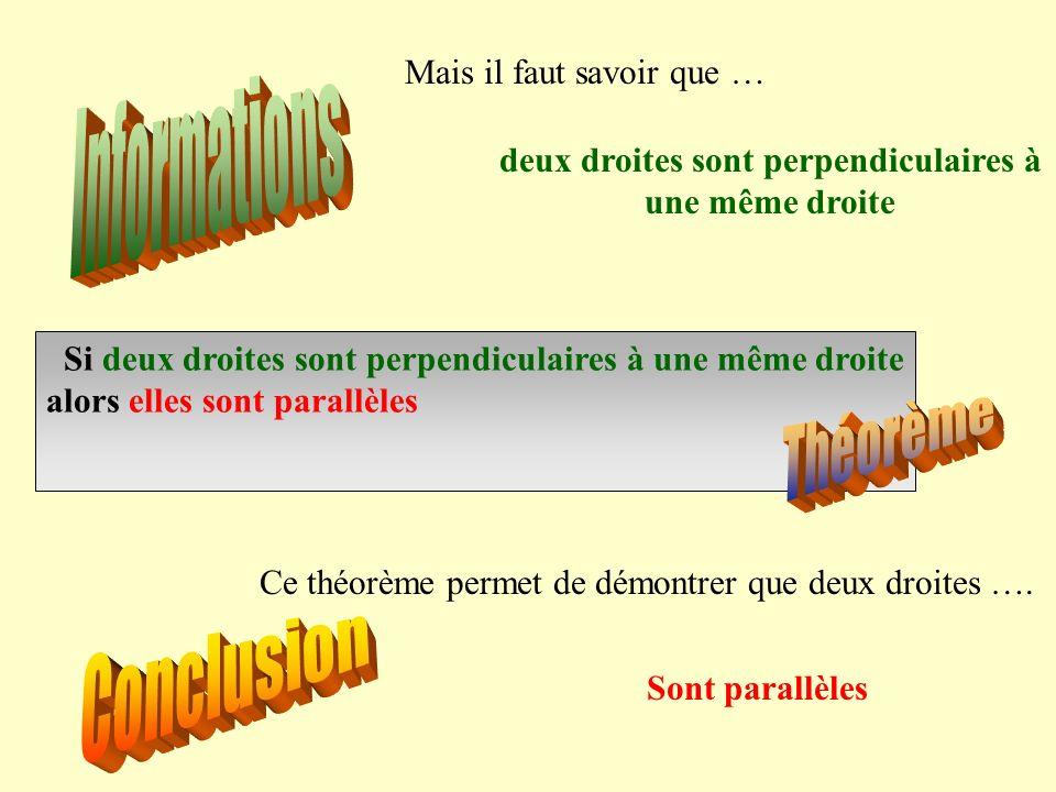 Si deux droites sont perpendiculaires à une même droite alors elles sont parallèles Ce théorème permet de démontrer que deux droites …. Sont parallèle