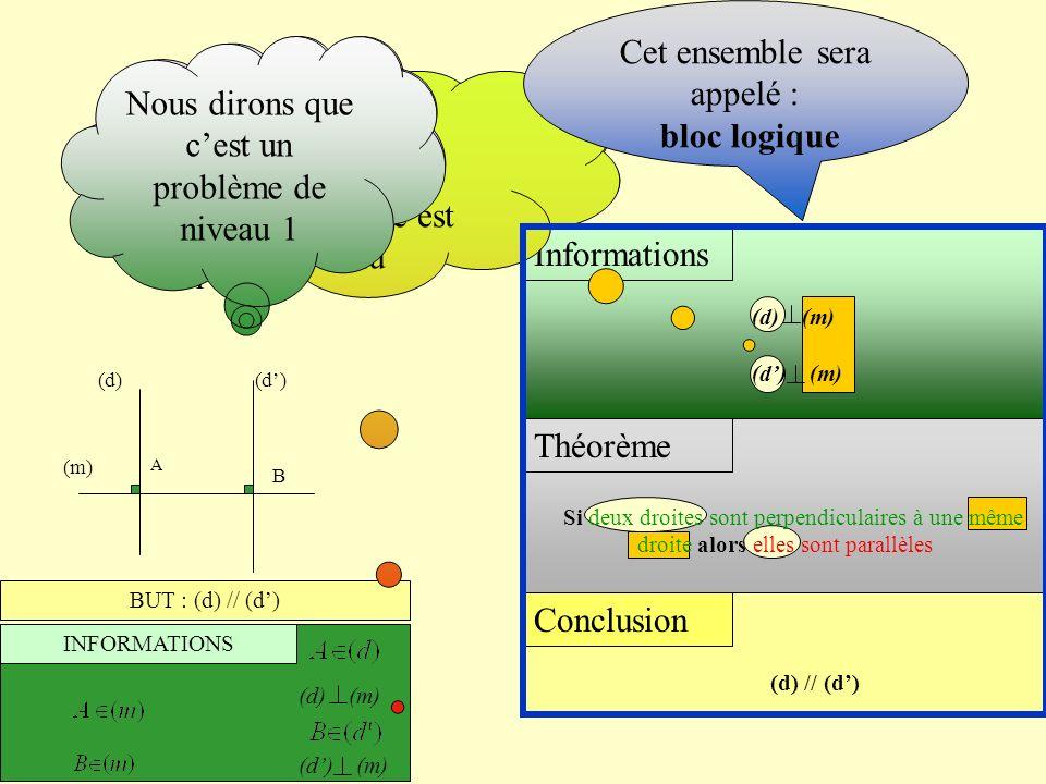 BUT : (d) // (d) INFORMATIONS (m) A B (d) (d) (m) Conclusion (d) // (d) Théorème Informations Ces informations nécessaires étaient- elles données ? Ou