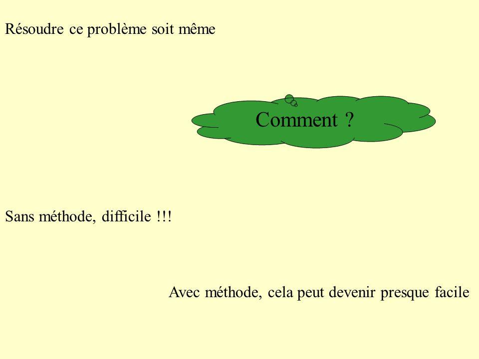 Résoudre ce problème soit même Sans méthode, difficile !!! Avec méthode, cela peut devenir presque facile Comment ?