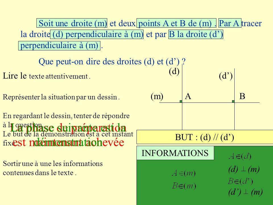 Lire le texte attentivement. Représenter la situation par un dessin. (m)AB (d) En regardant le dessin, tenter de répondre à la question. Le but de la