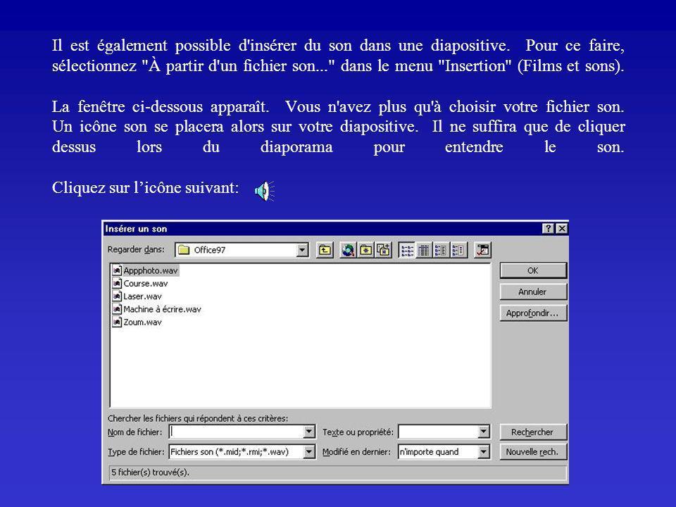 IMAGES ET SONS Pour insérer une image, vous sélectionnez insérer une image à partir du fichier (ou de la bibliothèque Microsoft). La fenêtre ci-dessou