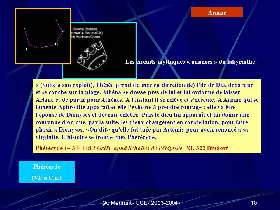 (A. Meurant - UCL - 2003-2004)10 « (Suite à son exploit), Thésée prend (la mer en direction de) l'île de Dia, débarque et se couche sur la plage. Athé