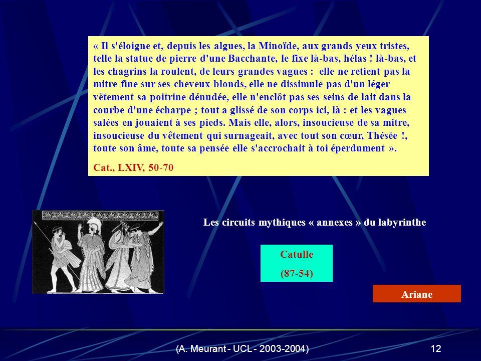 (A. Meurant - UCL - 2003-2004)12 « Il s'éloigne et, depuis les algues, la Minoïde, aux grands yeux tristes, telle la statue de pierre d'une Bacchante,