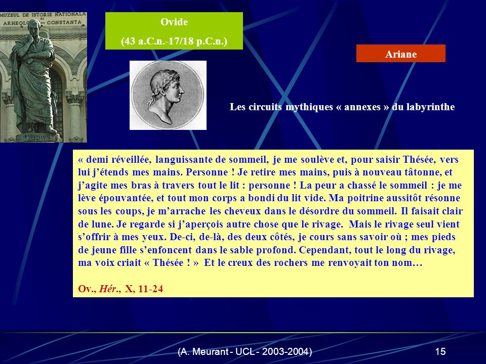 (A. Meurant - UCL - 2003-2004)15 « demi réveillée, languissante de sommeil, je me soulève et, pour saisir Thésée, vers lui jétends mes mains. Personne