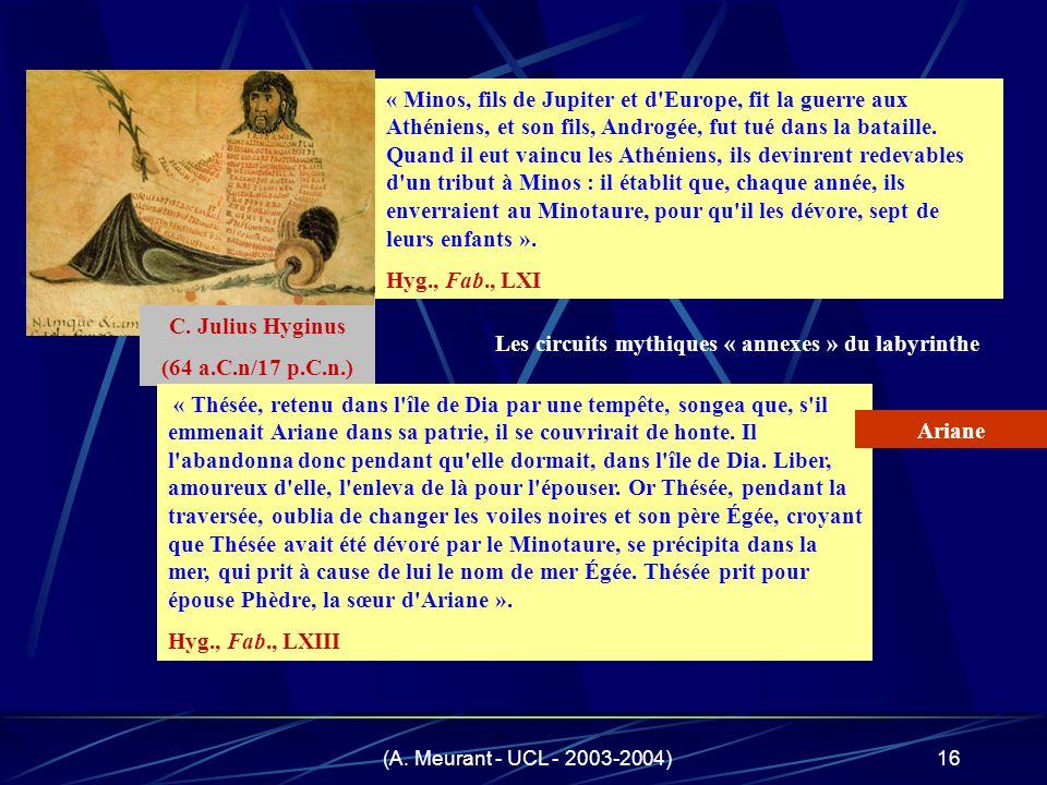 (A. Meurant - UCL - 2003-2004)16 « Minos, fils de Jupiter et d'Europe, fit la guerre aux Athéniens, et son fils, Androgée, fut tué dans la bataille. Q