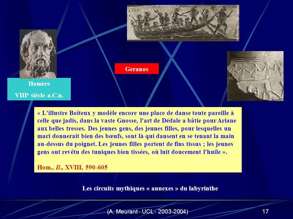 (A. Meurant - UCL - 2003-2004)17 Homère VIII e siècle a.C.n. « L'illustre Boîteux y modèle encore une place de danse toute pareille à celle que jadis,