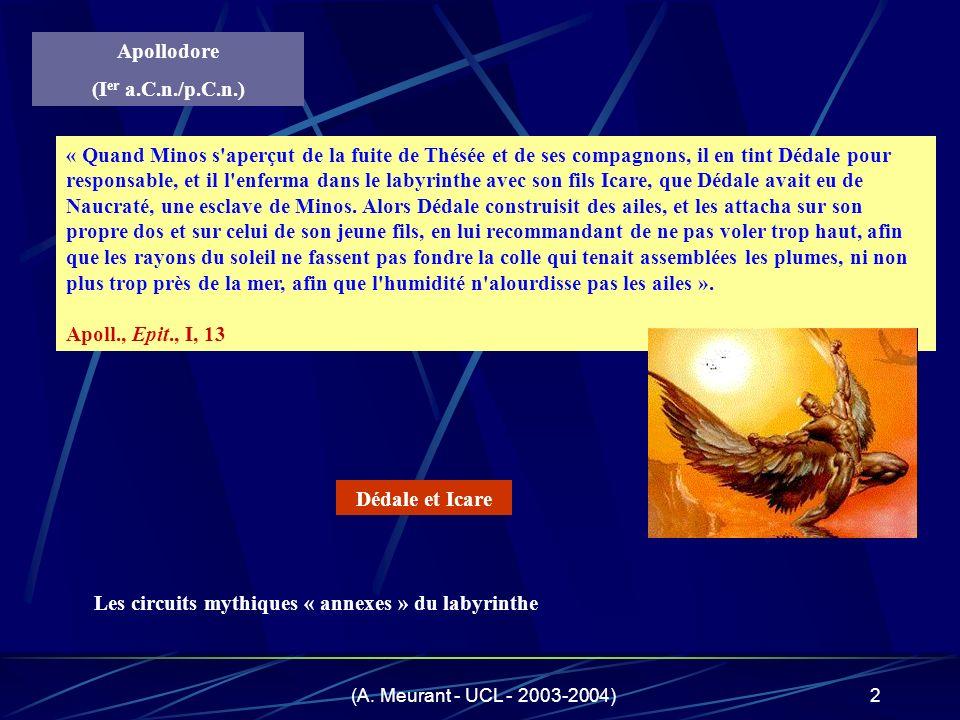 (A. Meurant - UCL - 2003-2004)2 Apollodore (I er a.C.n./p.C.n.) « Quand Minos s'aperçut de la fuite de Thésée et de ses compagnons, il en tint Dédale