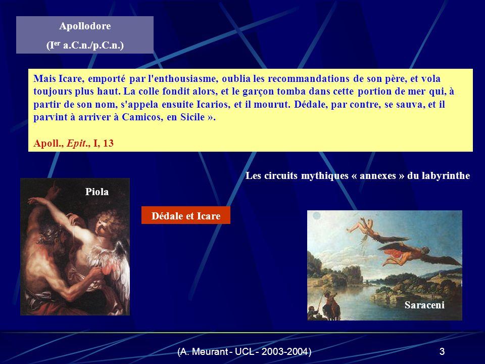 (A. Meurant - UCL - 2003-2004)3 son bain, les filles de Cocalos le tuèrent - certains disent qu'il fut ébouillanté. Mais Icare, emporté par l'enthousi