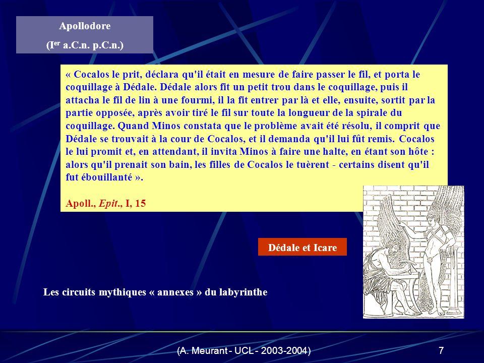 (A. Meurant - UCL - 2003-2004)7 « Cocalos le prit, déclara qu'il était en mesure de faire passer le fil, et porta le coquillage à Dédale. Dédale alors