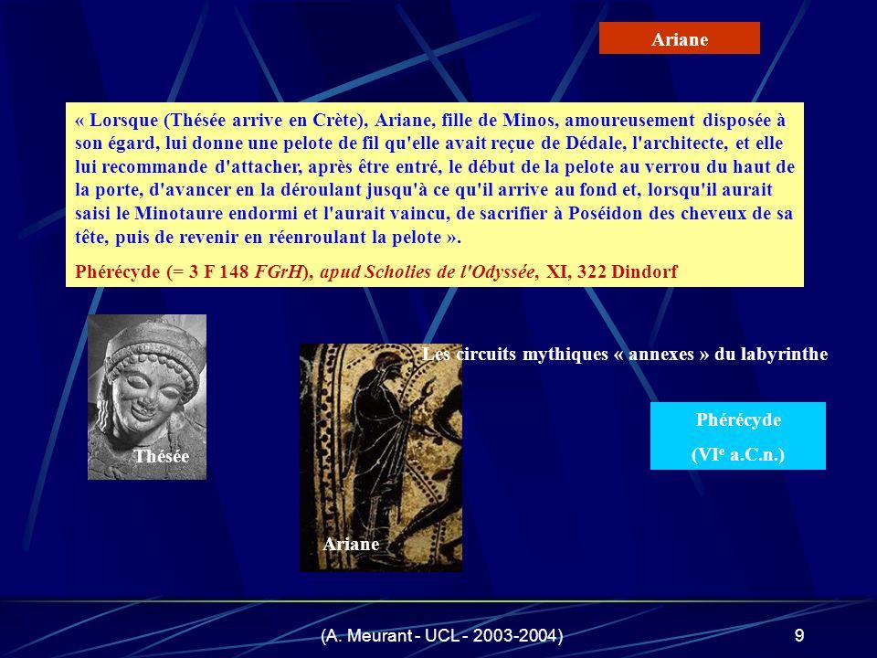 (A. Meurant - UCL - 2003-2004)9 « Lorsque (Thésée arrive en Crète), Ariane, fille de Minos, amoureusement disposée à son égard, lui donne une pelote d
