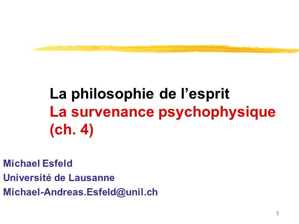 1 La philosophie de lesprit La survenance psychophysique (ch.