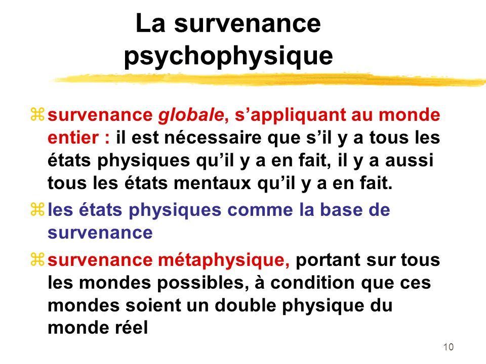 10 La survenance psychophysique survenance globale, sappliquant au monde entier : il est nécessaire que sil y a tous les états physiques quil y a en fait, il y a aussi tous les états mentaux quil y a en fait.