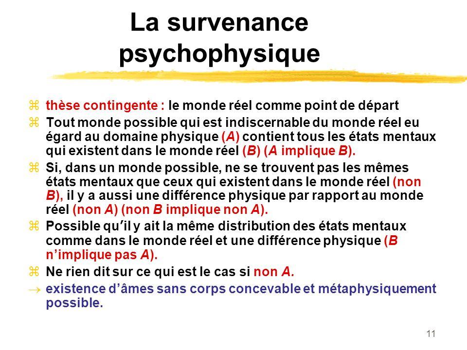 11 La survenance psychophysique thèse contingente : le monde réel comme point de départ Tout monde possible qui est indiscernable du monde réel eu égard au domaine physique (A) contient tous les états mentaux qui existent dans le monde réel (B) (A implique B).
