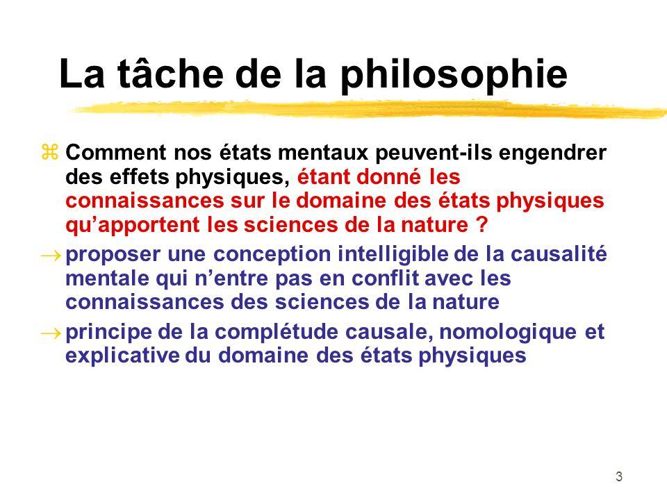 3 La tâche de la philosophie Comment nos états mentaux peuvent-ils engendrer des effets physiques, étant donné les connaissances sur le domaine des états physiques quapportent les sciences de la nature .