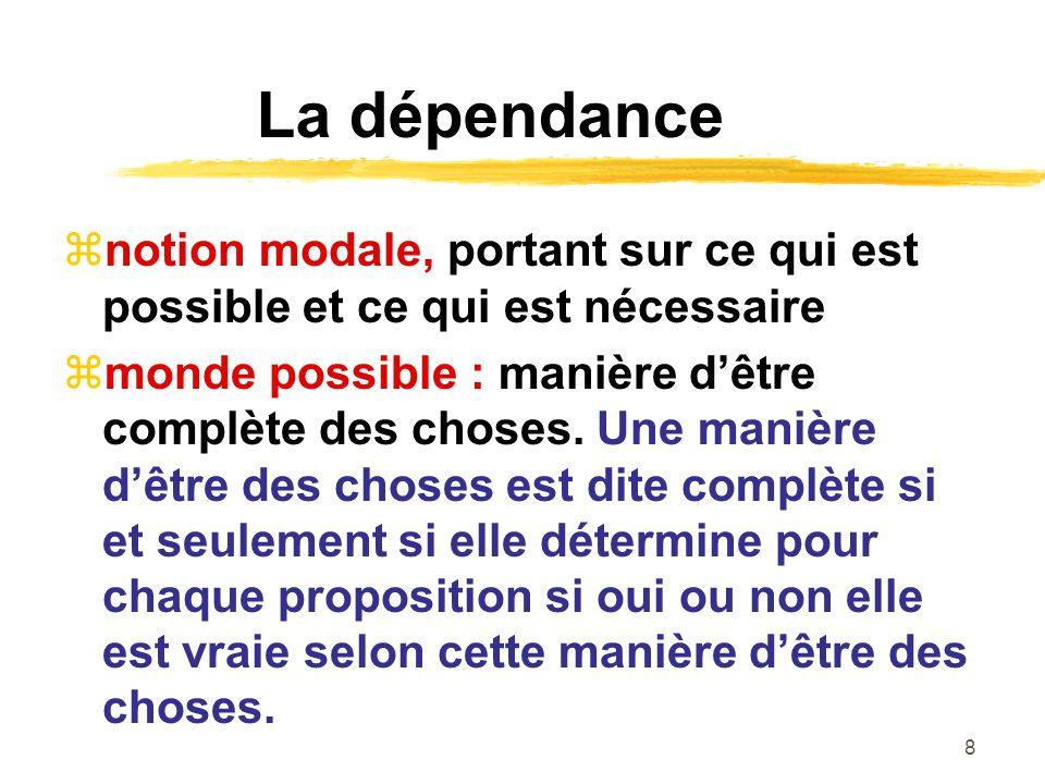 8 La dépendance notion modale, portant sur ce qui est possible et ce qui est nécessaire monde possible : manière dêtre complète des choses.