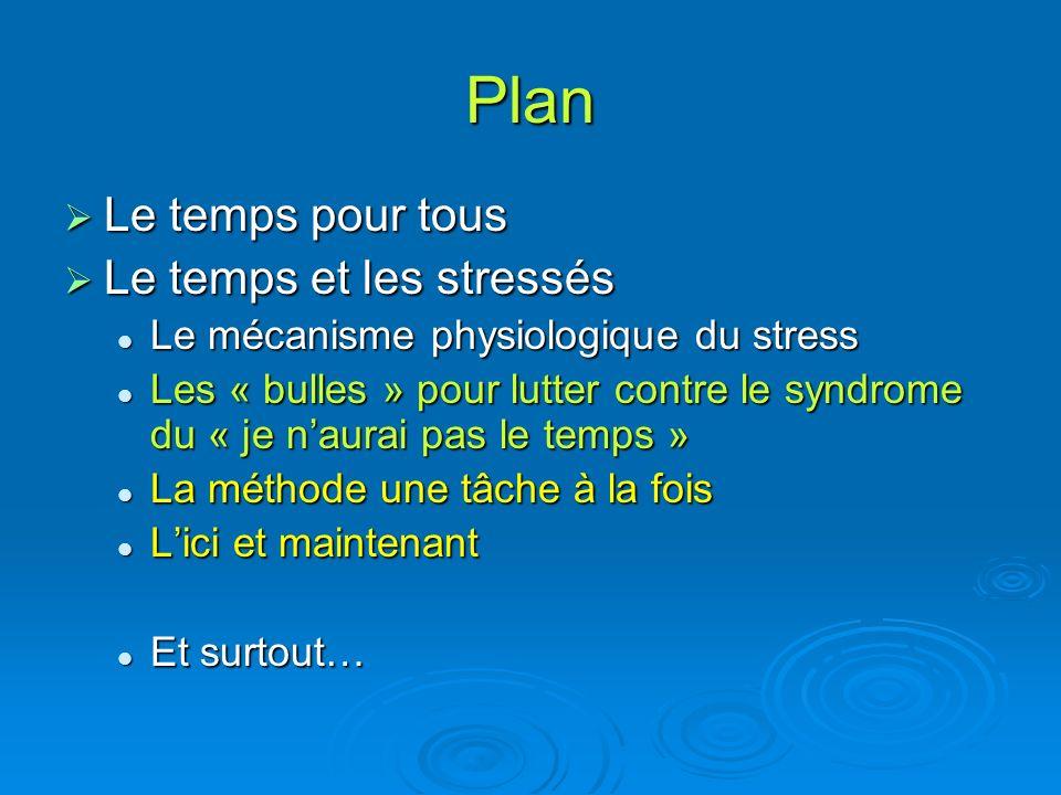 Plan Le temps pour tous Le temps pour tous Le temps et les stressés Le temps et les stressés Le mécanisme physiologique du stress Le mécanisme physiol