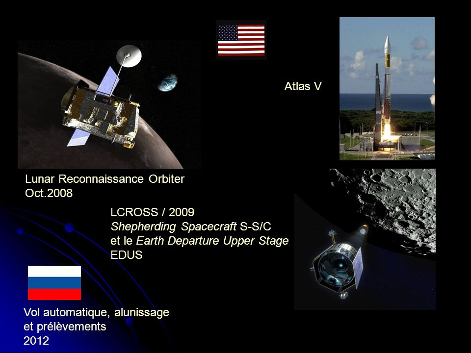 Lunar Reconnaissance Orbiter Oct.2008 LCROSS / 2009 Shepherding Spacecraft S-S/C et le Earth Departure Upper Stage EDUS Atlas V Vol automatique, alunissage et prélèvements 2012