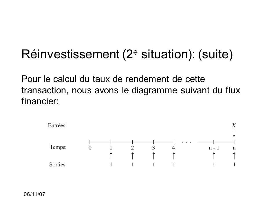 06/11/07 Réinvestissement (2 e situation): (suite) Pour le calcul du taux de rendement de cette transaction, nous avons le diagramme suivant du flux financier: