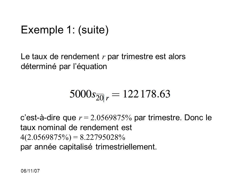 06/11/07 Exemple 1: (suite) Le taux de rendement r par trimestre est alors déterminé par léquation cest-à-dire que r = 2.0569875% par trimestre.