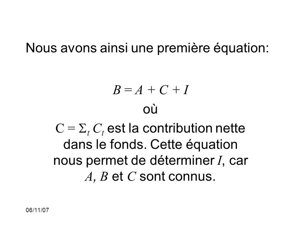 06/11/07 Nous avons ainsi une première équation: B = A + C + I où C = t C t est la contribution nette dans le fonds.