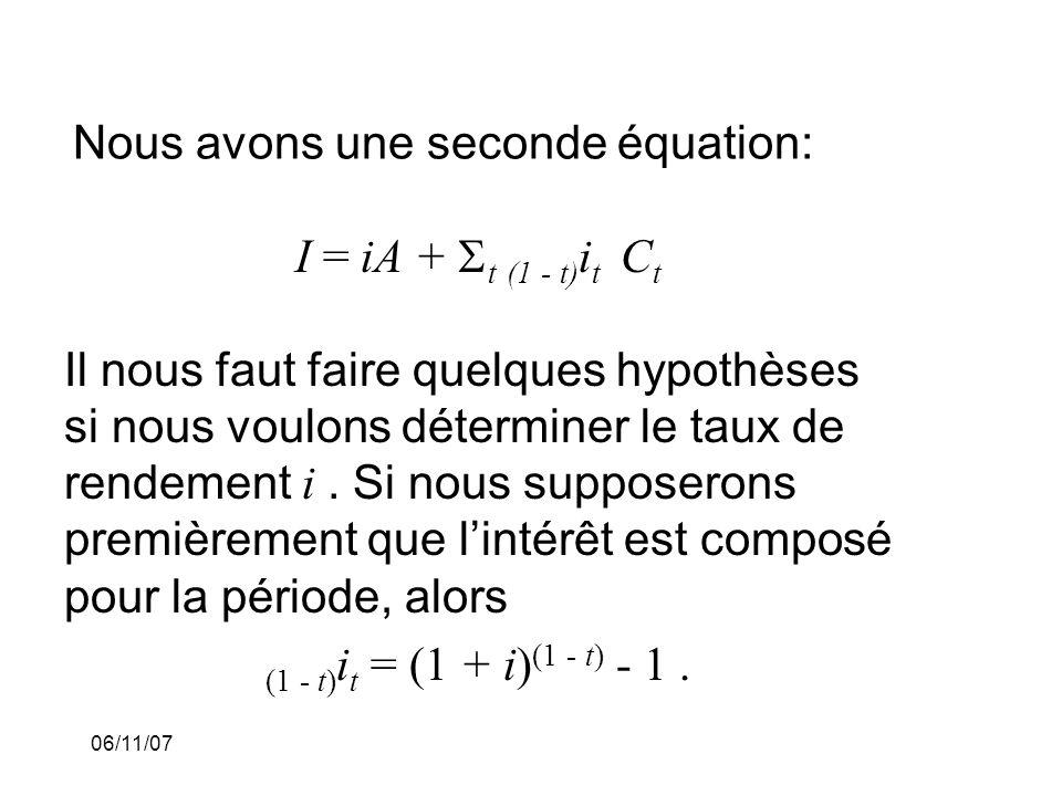 06/11/07 Nous avons une seconde équation: I = iA + t (1 - t) i t C t Il nous faut faire quelques hypothèses si nous voulons déterminer le taux de rendement i.