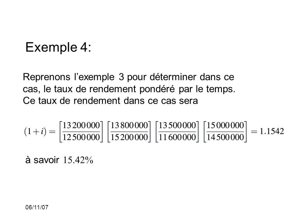 06/11/07 Exemple 4: Reprenons lexemple 3 pour déterminer dans ce cas, le taux de rendement pondéré par le temps.