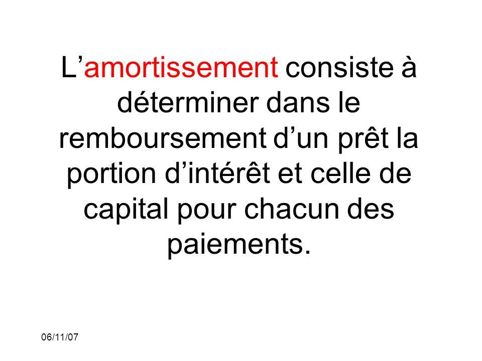 06/11/07 Lamortissement consiste à déterminer dans le remboursement dun prêt la portion dintérêt et celle de capital pour chacun des paiements.