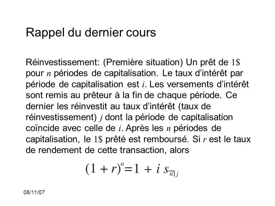 06/11/07 Rappel du dernier cours Réinvestissement: (Première situation) Un prêt de 1$ pour n périodes de capitalisation.