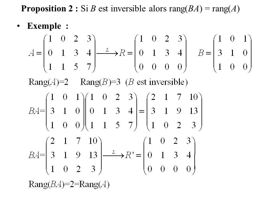 Exemple : Proposition 2 : Si B est inversible alors rang(BA) = rang(A)