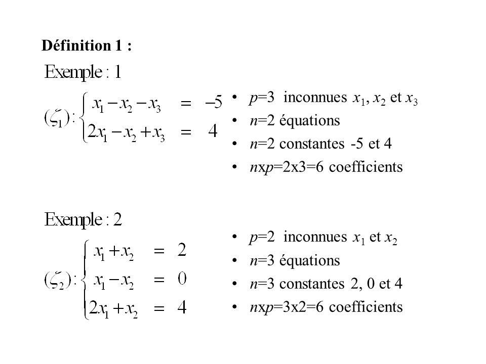 Définition 1 : p=3 inconnues x 1, x 2 et x 3 n=2 équations n=2 constantes -5 et 4 nxp=2x3=6 coefficients p=2 inconnues x 1 et x 2 n=3 équations n=3 co
