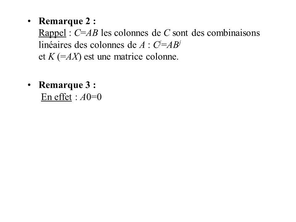 Remarque 2 : Rappel : C=AB les colonnes de C sont des combinaisons linéaires des colonnes de A : C j =AB j et K (=AX) est une matrice colonne. Remarqu
